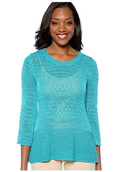 Skye's the Limit Petite Elegant Explorer Fine Gauge Flare Pullover Sweater Top