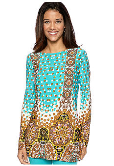 Skye's the Limit Petite Elegant Explorer Printed Tunic Top
