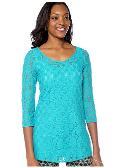 Skye's the Limit Petite Elegant Explorer Lace Tunic with Tank