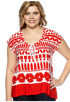 Skye's the Limit Plus Size Impulsive Drawstring Neck Trapeze Top