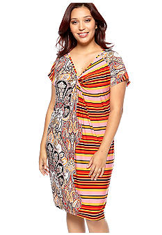 Skye's the Limit Plus Size Impulsive Knot Front Printed Dress