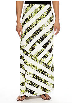 Skye's the Limit Wish You Were Here Asymmetrical Striped Maxi Skirt
