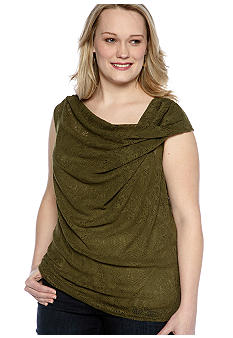 Skye's the Limit Plus Size Wish You Were Here Twist Cowl Neck Lace Top