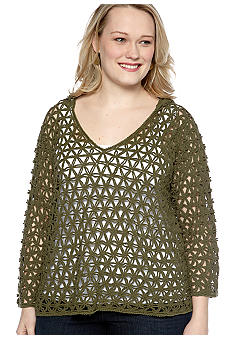 Skye's the Limit Plus Size Wish You Were Here Crochet Hoodie
