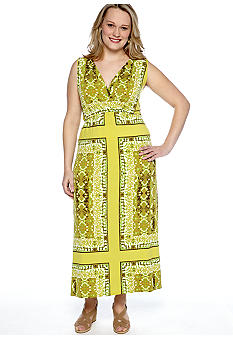 Skye's the Limit Plus Size Wish You Were Here Cross Over Printed V-Neck Maxi Dress