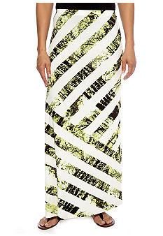 Skye's the Limit Petite Wish You Were Here Asymmetrical Striped Maxi Skirt