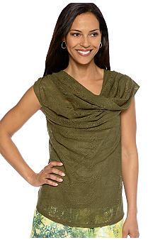 Skye's the Limit Petite Wish You Were Here Twist Cowl Neck Top