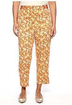 Skye's the Limit Plus Size Blossom Time Printed Ankle Zip Pant