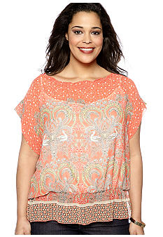 Skye's the Limit Plus Size Blossom Time Printed Peasant Blouse