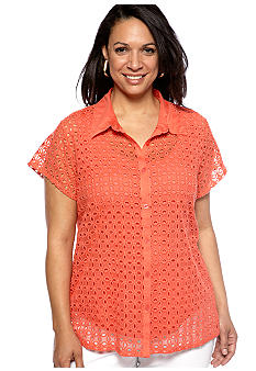 Skye's the Limit Plus Size Blossom Time Eyelet Lace Top