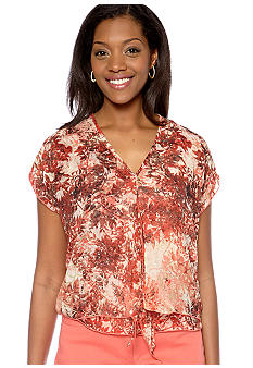 Skye's the Limit Petite Blossom Time Tie Front Blouson Blouse