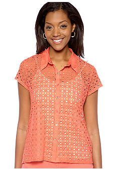 Skye's the Limit Petite Blossom Time Eyelet Lace Top
