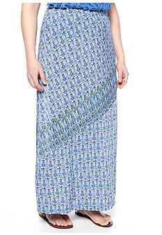 Skye's the Limit Plus Size La Isla Bonita Asymmetrical Printed Maxi Skirt