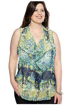Skye's the Limit Plus Size La Isla Bonita Printed Ruffle Blouse