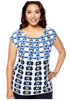 Skye's the Limit Plus Size La Isla Bonita Diamond Smocked Neck Top