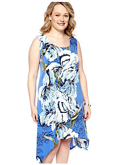 Skye's the Limit Plus Size La Isla Bonita Printed Drape Hem Tank Dress