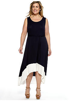 Skye's the Limit Plus Size La Isla Bonita Belted Hi Low Dress