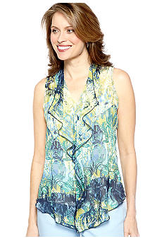 Skye's the Limit Petite La Isla Bonita Printed Ruffle Blouse