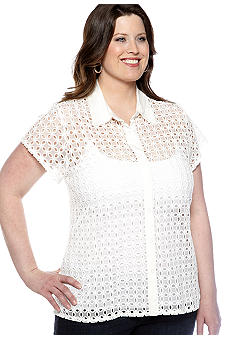 Skye's the Limit Plus Size Essential Eyelet Lace Top