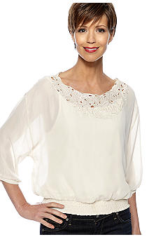 Skye's the Limit Essential Embroidered Peasant Blouse