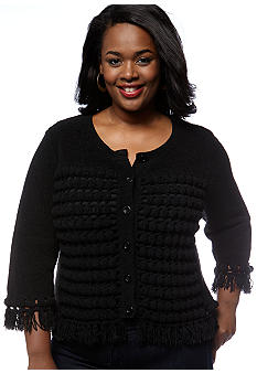 Skye's the Limit Plus Size Modern Retro Pom Pom Cardigan