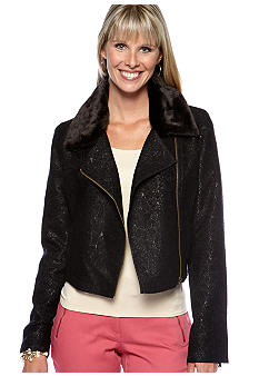 Skye's the Limit Petite Essential Moto Jacket with Removable Faux Fur Collar