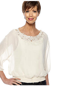 Skye's the Limit Petite Essential Embroidered Peasant Blouse