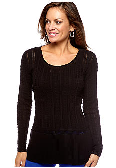 Skye's the Limit Petite Essential Cable Knit Pullover Sweater