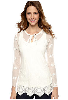 Skye's the Limit Petite Essential Embroidered Tunic