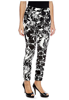Skye's the Limit Petite Pop Art Printed Ankle Pant with Ankle Zipper