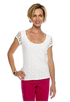 Skye's the Limit Petite Pop Art Lace Front Top
