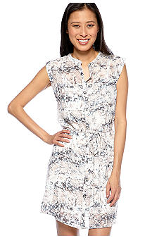 DKNY Jeans Sleeveless Button Down Snake Print Dress