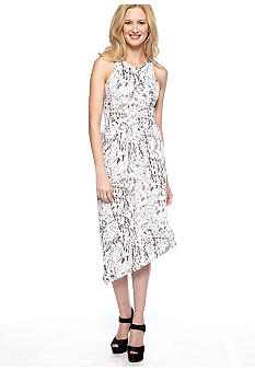 Asymmetrical Hem Printed Maxi Dress