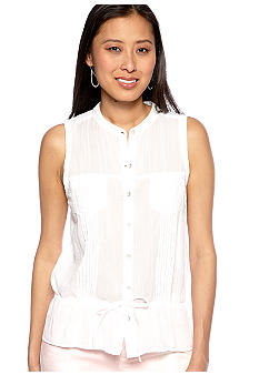 DKNY Jeans Sleeveless Cotton Gauze Top with Drawstring Peplum