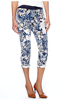 DKNY Jeans Abstract Floral Print Rolled Crop Pant