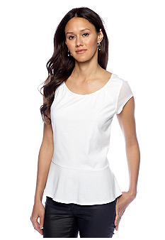 DKNY Jeans Mixed Media Peplum Top