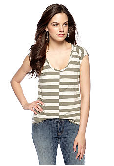 DKNY Jeans Shirred Shoulder Striped Shirt