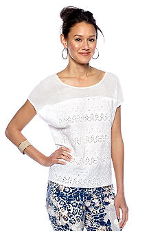 DKNY Jeans Boxy Eyelet Top with Mesh Yoke