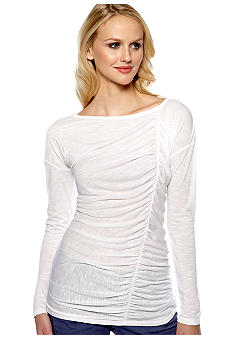 DKNY Jeans Asymmetical Shirred Top