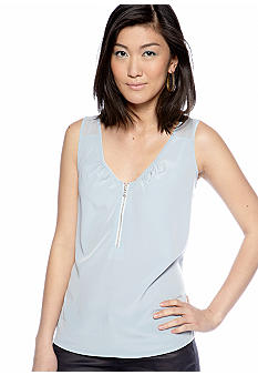 DKNY Jeans Mix Media Tank with Zipper Detail