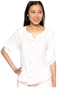 Lace Pintuck Button Down Top with Roll Tab Sleeves
