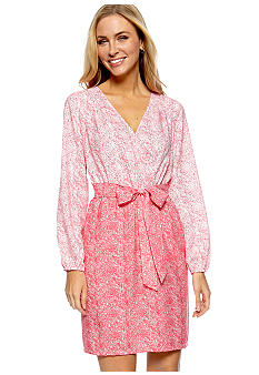 Harper and Gray Long Sleeve Tonal Print Dress