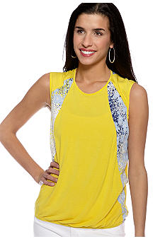 Harper and Gray Sleeveless Top with Floral Insets