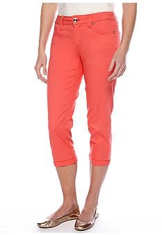 New Directions Weekend Twill Cuff Capri Pant