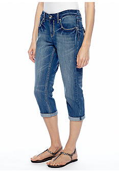 New Directions Weekend Embellished Jean Crop Pant