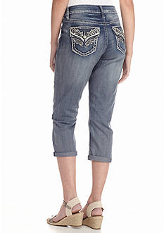 New Directions Weekend Bling Wing Jean Capri Pants