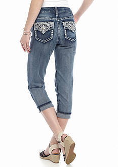 New Directions Weekend Studded Embroidered Jean Capris