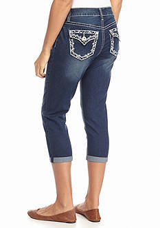 New Directions Weekend Bling Embroidered Jean Capris