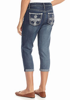 New Directions Weekend Bling Cross Jean Capris
