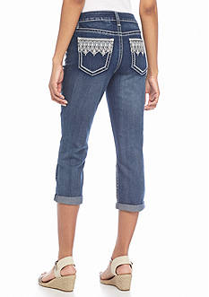 New Directions Weekend Bling Embroidered Jeans Crop